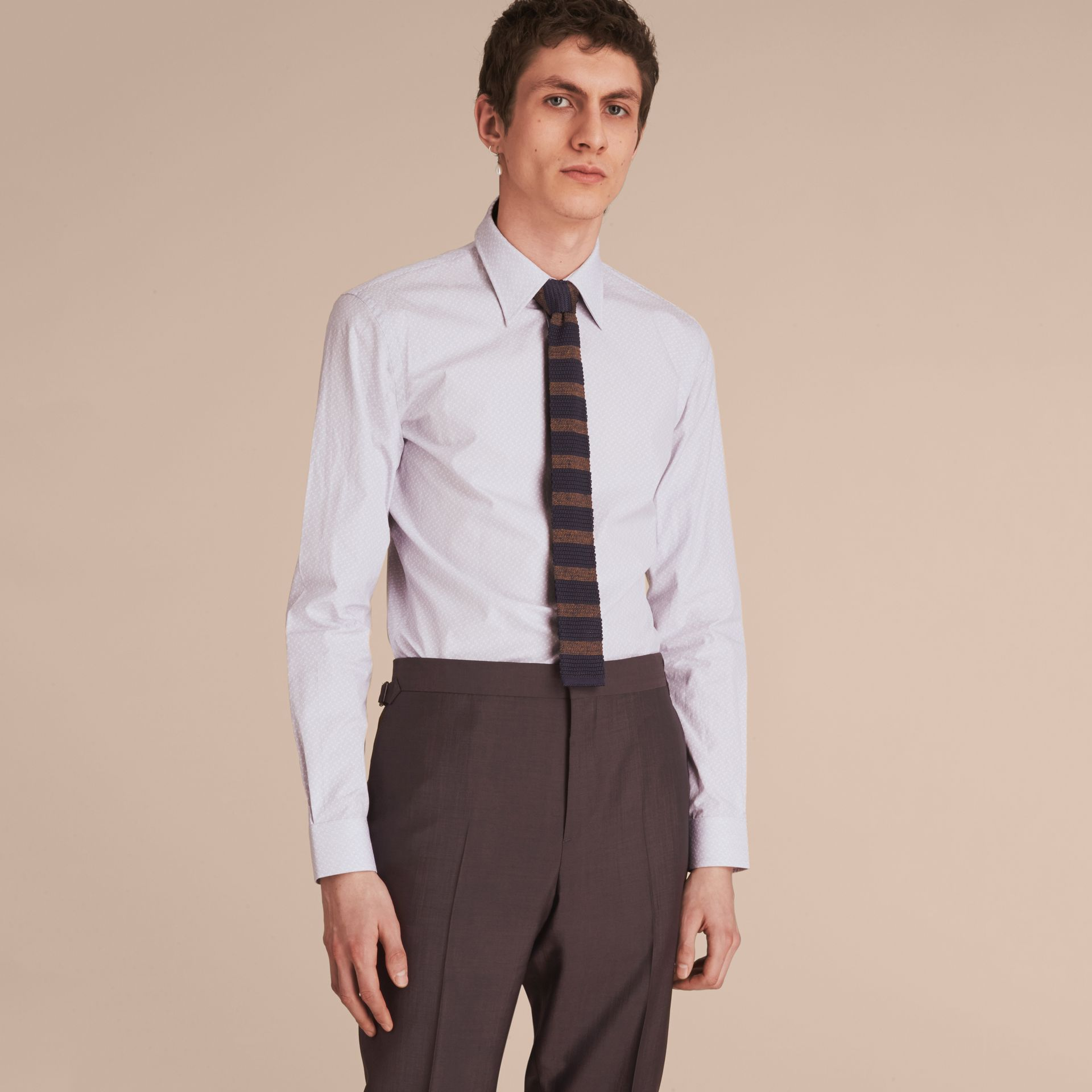 Slim Fit Striped Geometric Dobby Cotton Shirt in Pale Navy - Men | Burberry - gallery image 6