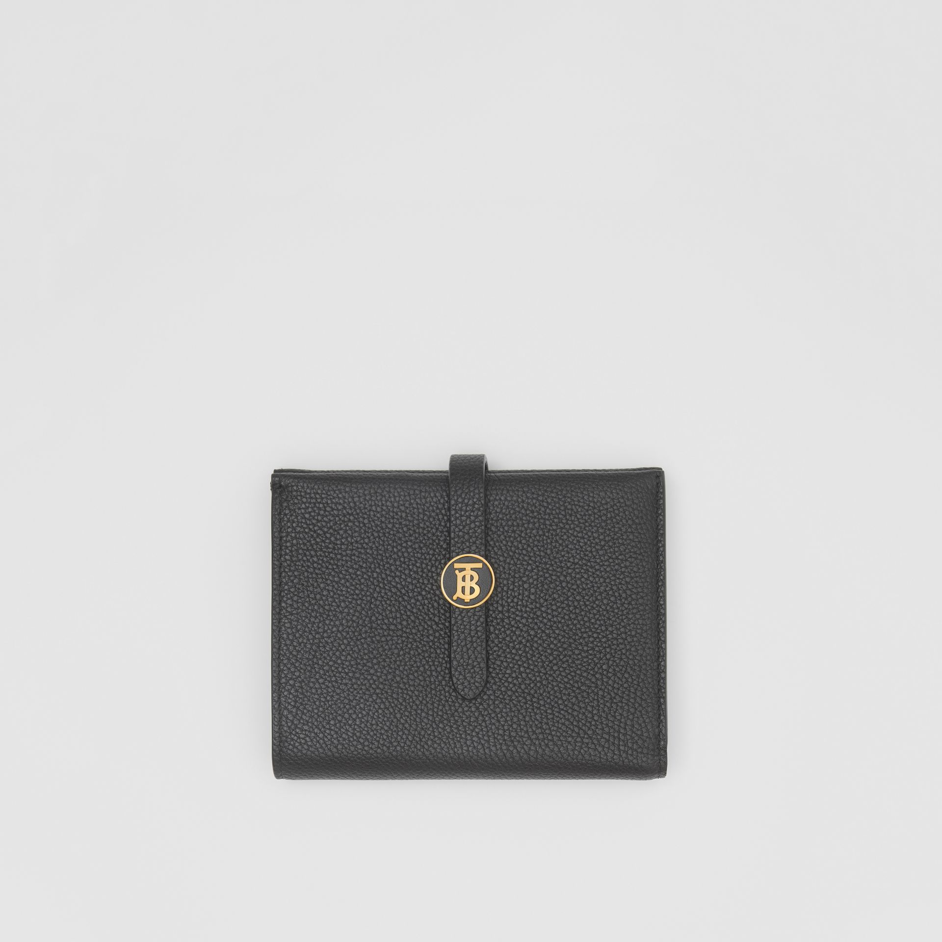 Monogram Motif Grainy Leather Folding Wallet in Black - Women | Burberry United Kingdom - gallery image 0