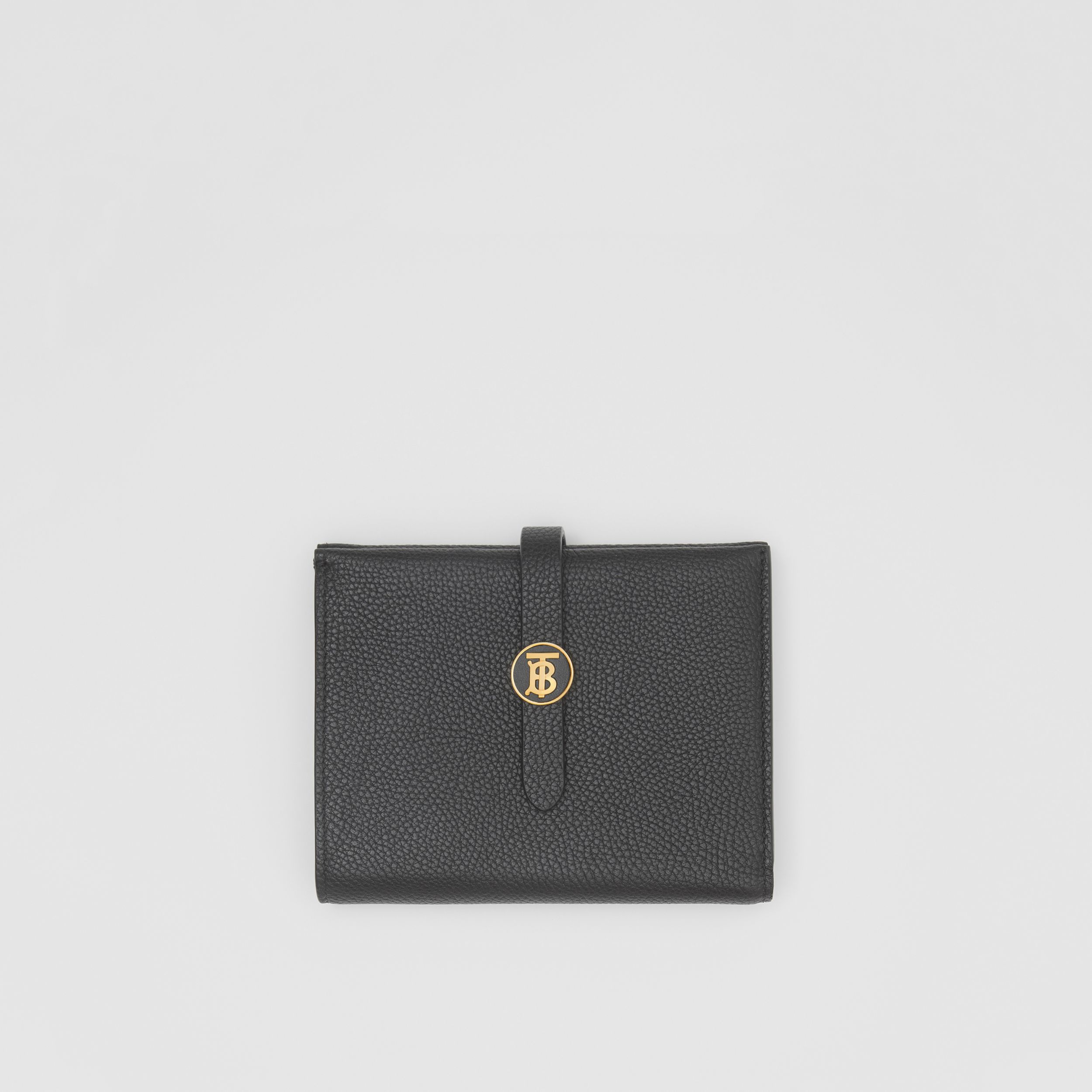 Monogram Motif Grainy Leather Folding Wallet in Black - Women | Burberry - 1