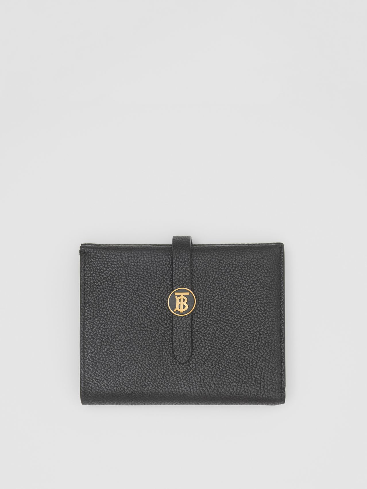 Monogram Motif Grainy Leather Folding Wallet in Black