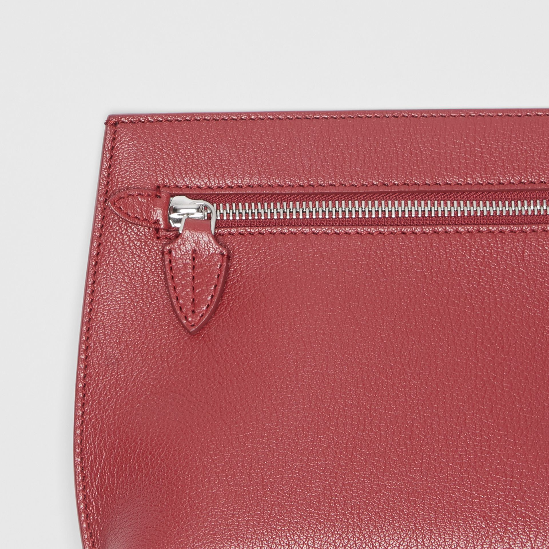 Grainy Leather Wristlet Clutch in Crimson - Women | Burberry United States - gallery image 1