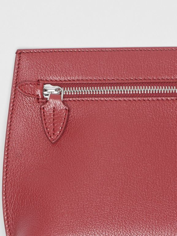 Grainy Leather Wristlet Clutch in Crimson - Women | Burberry United States - cell image 1
