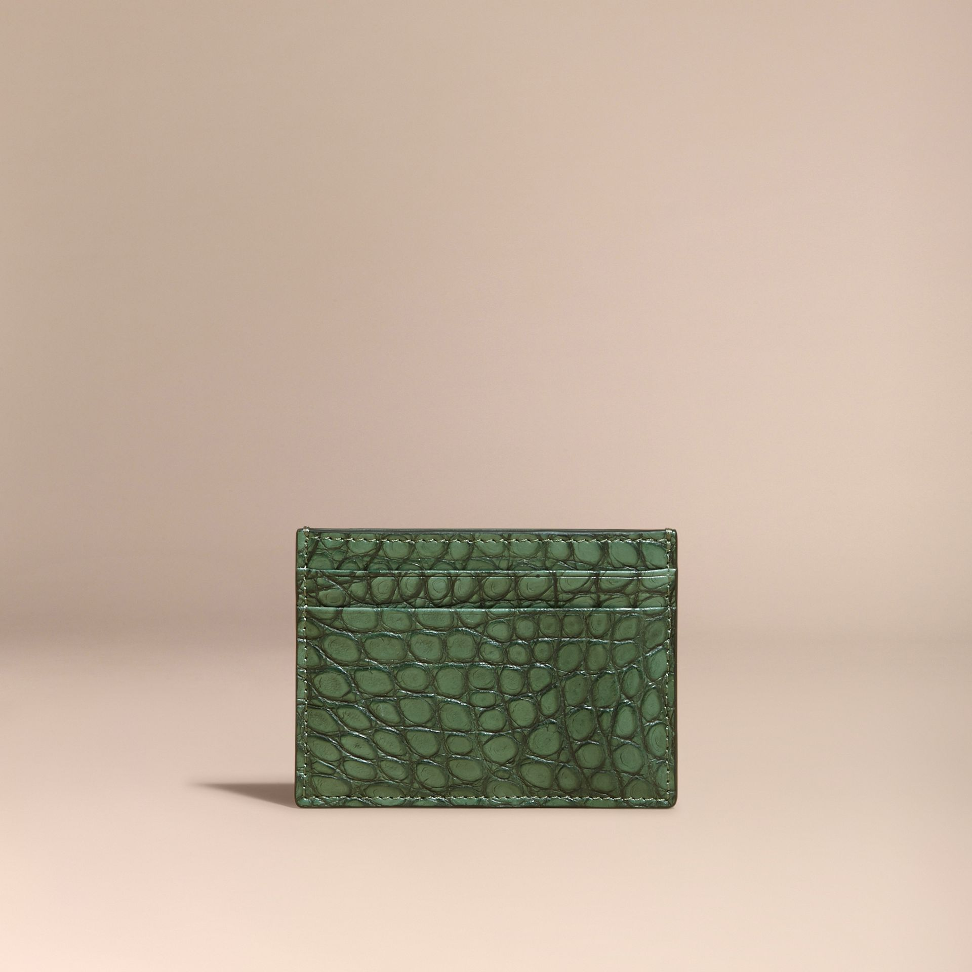 Sage Alligator Leather Card Case - gallery image 6