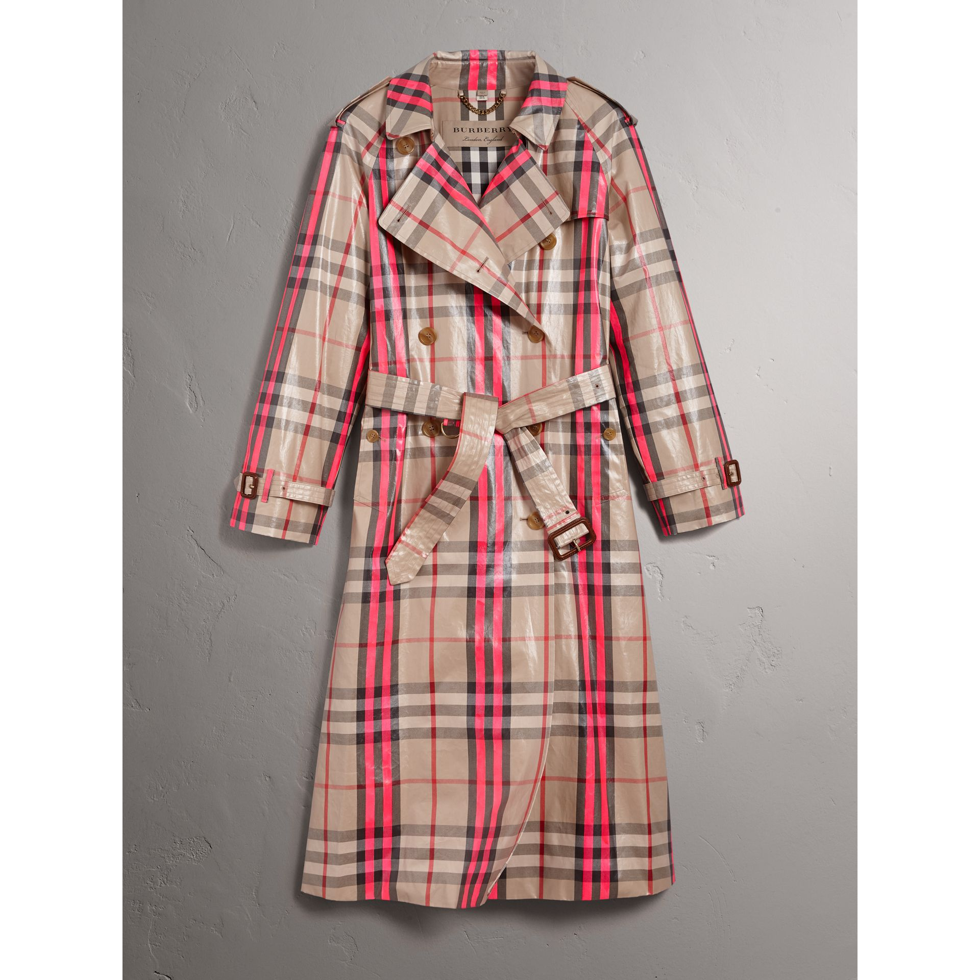 Laminated Check Trench Coat in Neon Pink - Women | Burberry Australia - gallery image 3