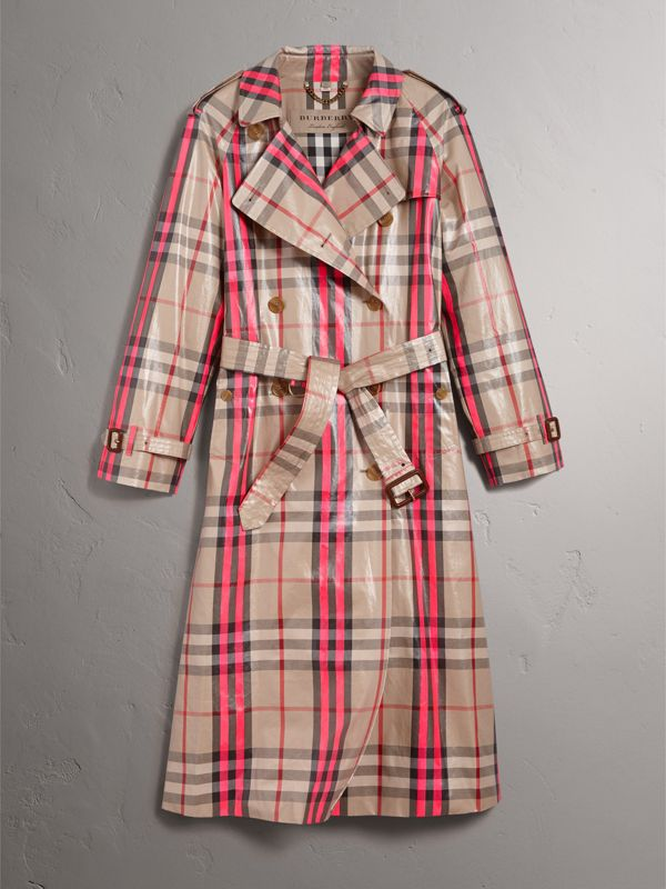 Laminated Check Trench Coat in Neon Pink - Women | Burberry - cell image 3