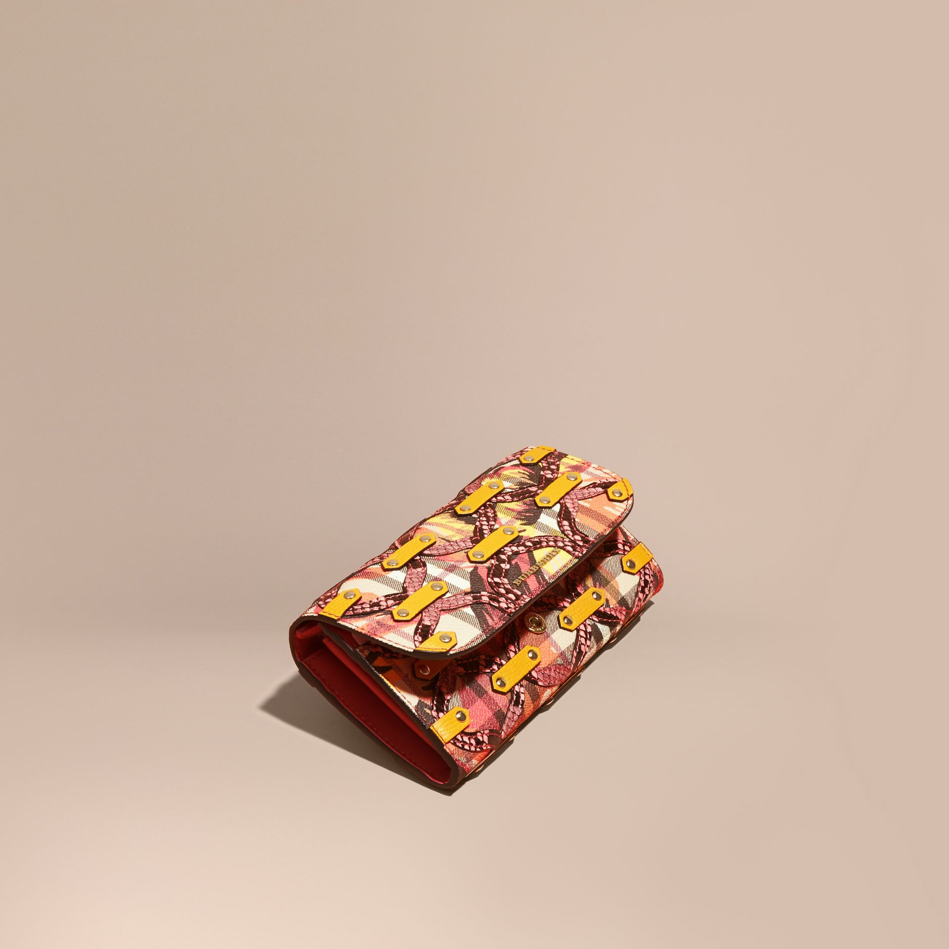Snakeskin Appliqué Peony Rose Print Haymarket Check Continental Wallet in Larch Yellow - gallery image 1