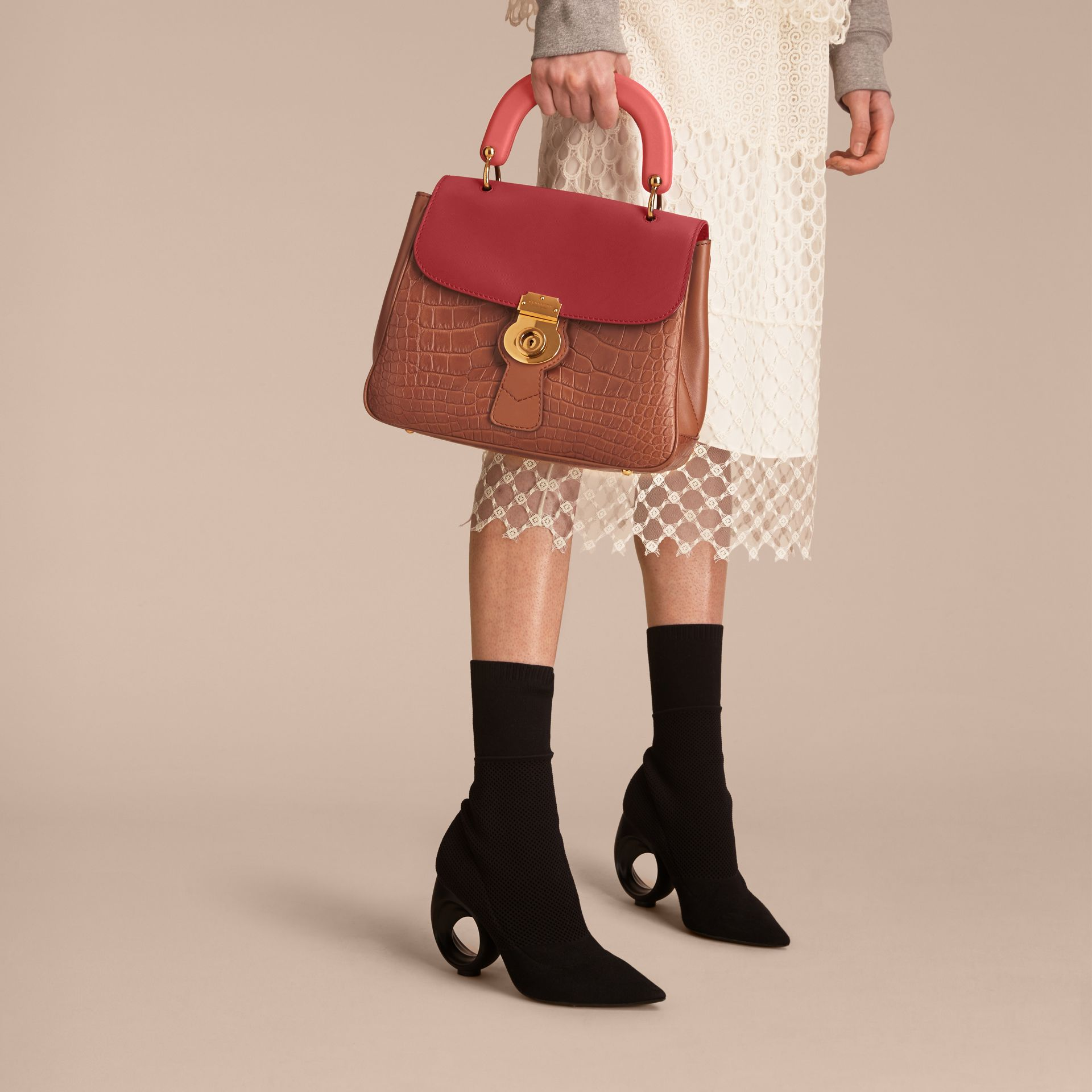 The Medium DK88 Top Handle Bag with Alligator Tan/antique Red - gallery image 4