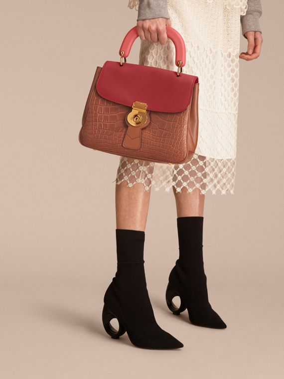 The Medium DK88 Top Handle Bag with Alligator Tan/antique Red - cell image 3
