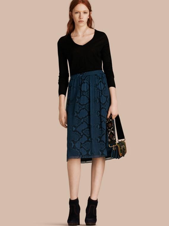 Python Print Silk Crepon Skirt