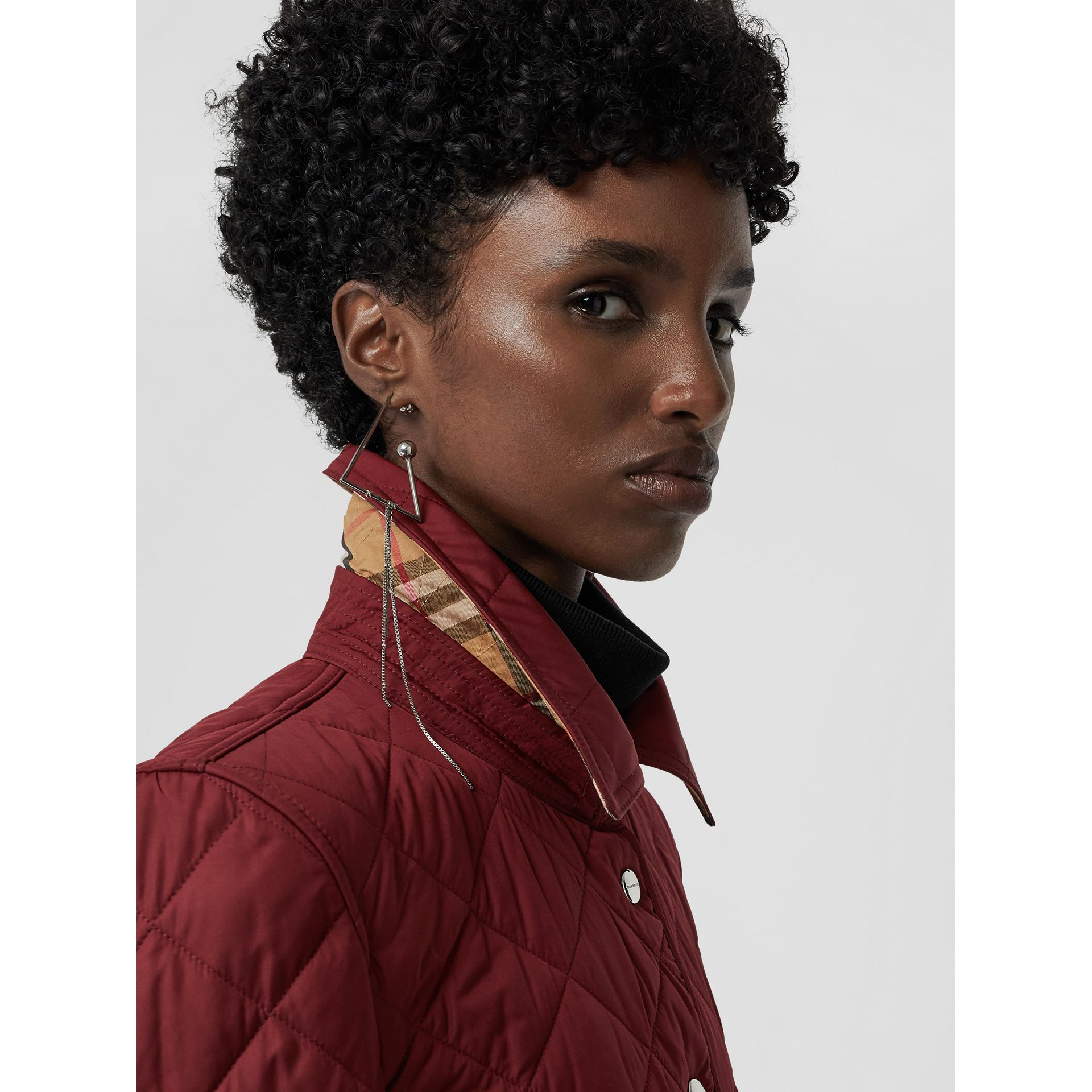 Embroidered Crest Diamond Quilted Jacket in Damson - Women | Burberry Australia - gallery image 1