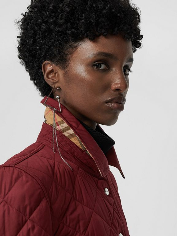 Embroidered Crest Diamond Quilted Jacket in Damson - Women | Burberry - cell image 1