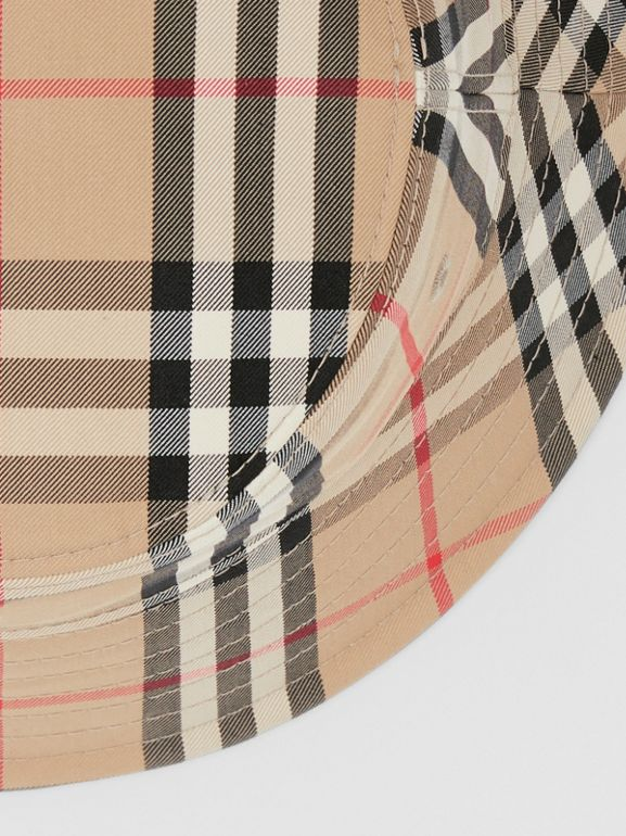 Vintage Check Cotton Blend Bucket Hat in Archive Beige | Burberry Australia - cell image 1