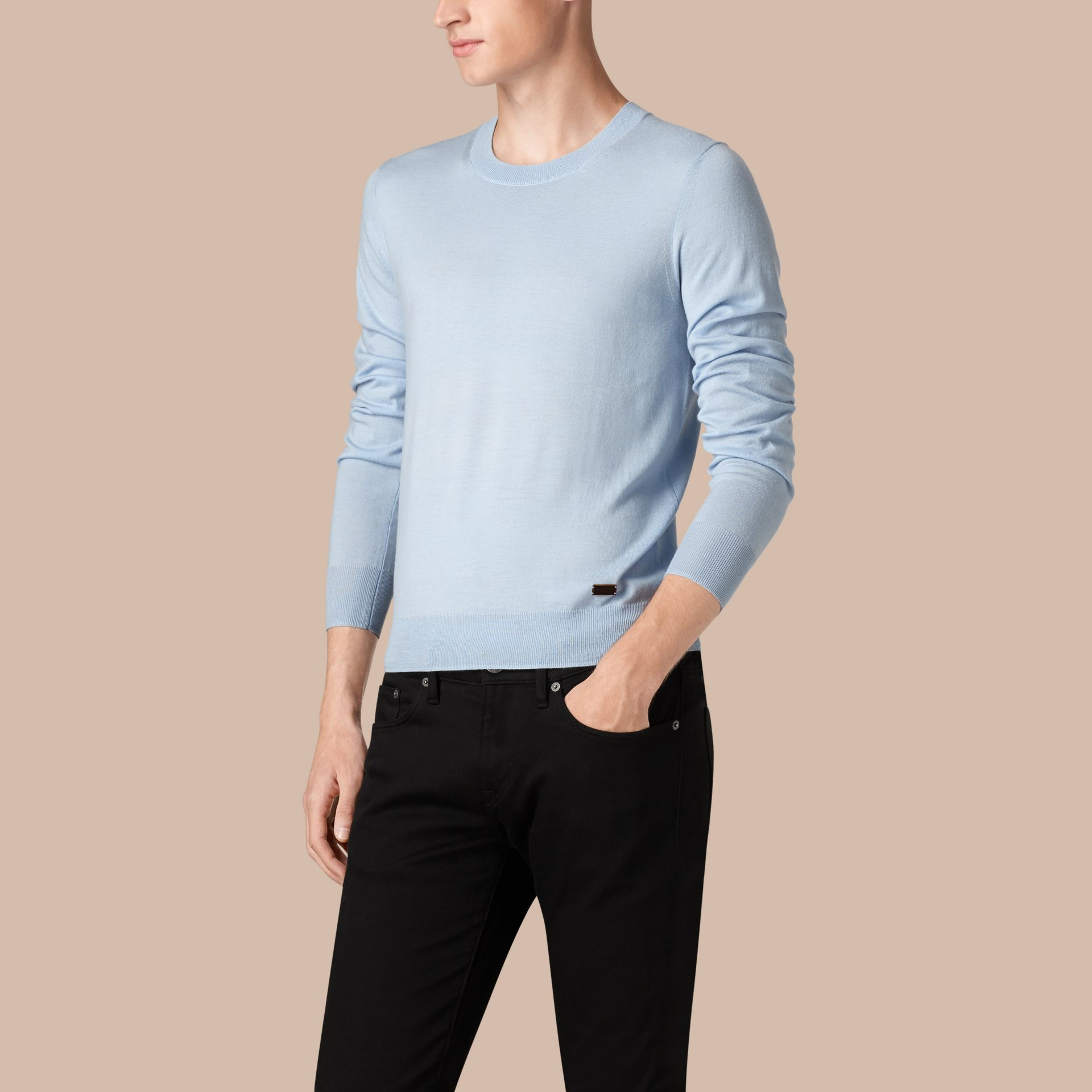 Sky blue Crew Neck Merino Wool Sweater Sky Blue - gallery image 1
