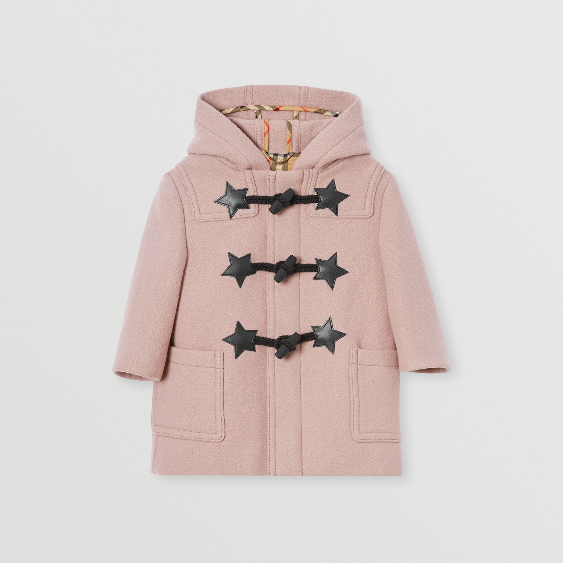Faux Leather Star Detail Wool Blend Duffle Coat in Lavender Pink - Children | Burberry - gallery image 0
