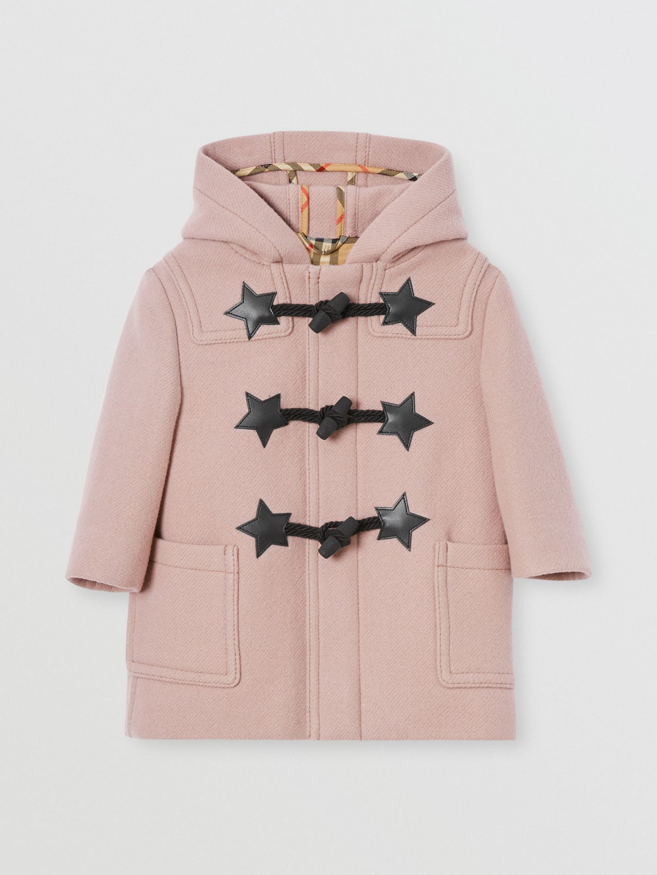 Faux Leather Star Detail Wool Blend Duffle Coat in Lavender Pink