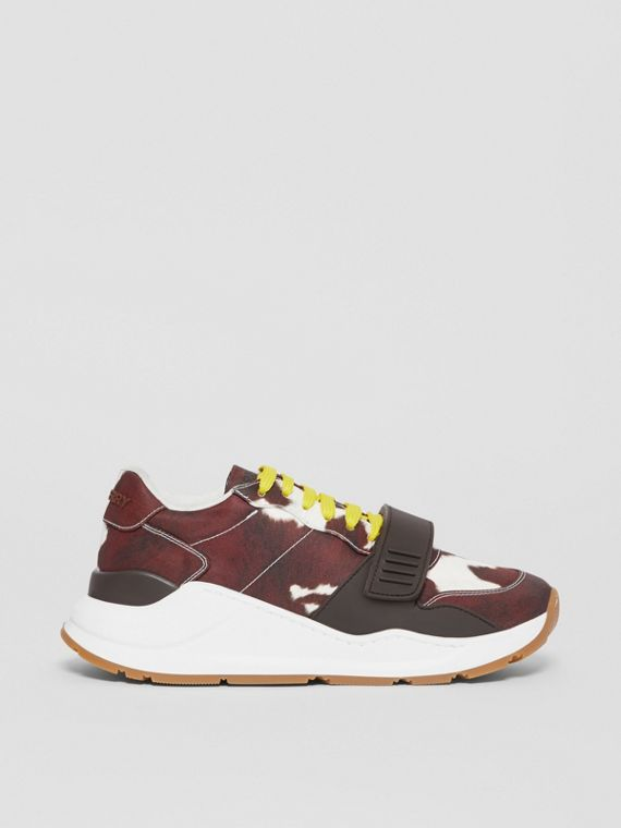 Cow Print Nylon Sneakers in Brown