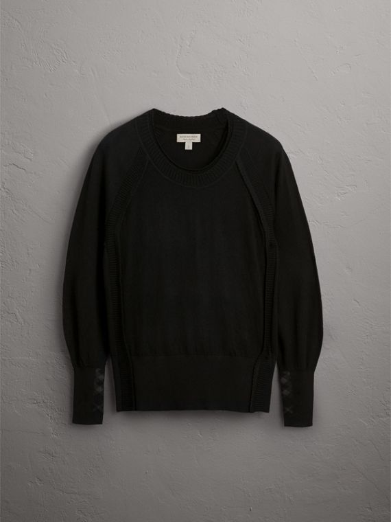 Open-knit Detail Cashmere Sweater in Black - Women | Burberry - cell image 3