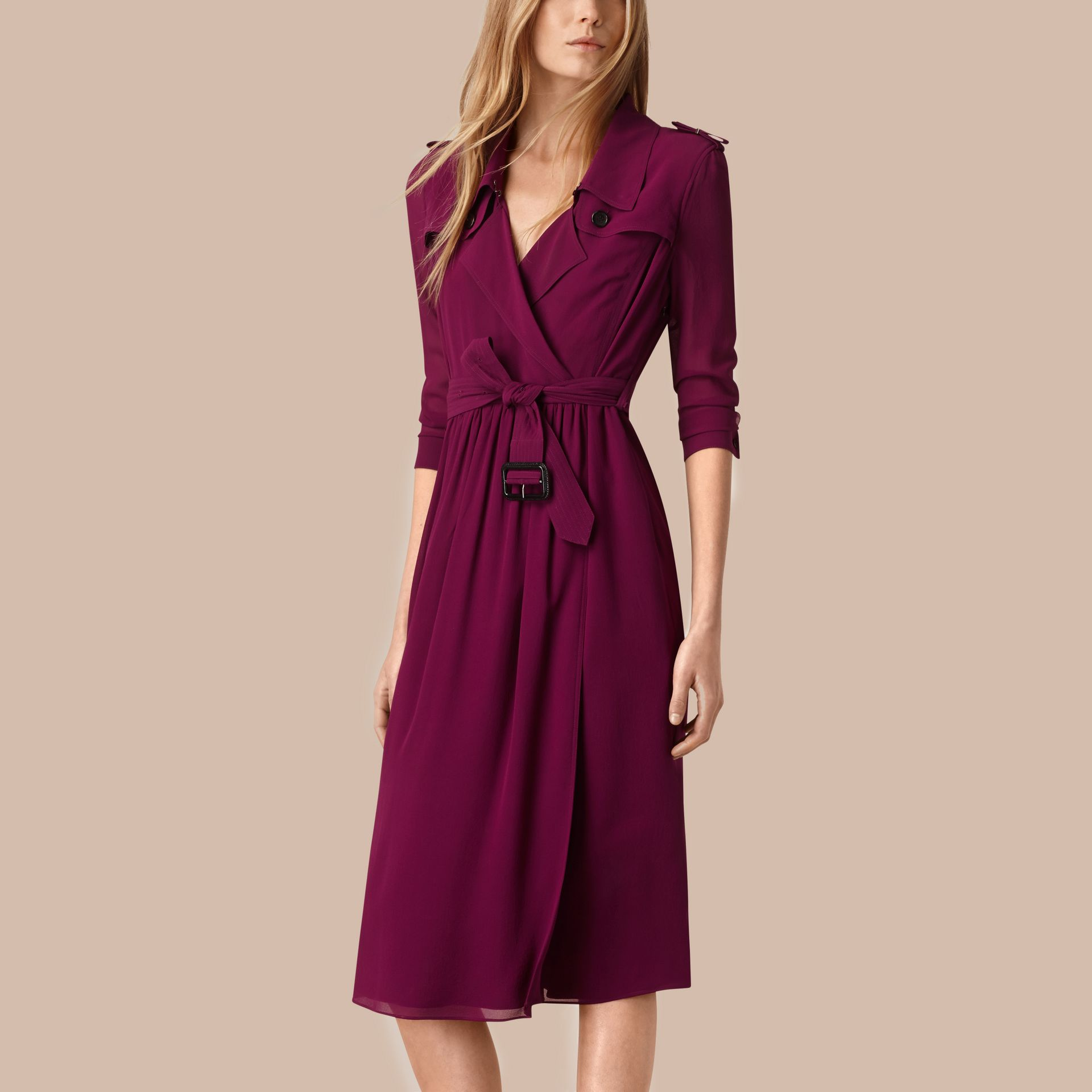 Silk Wrap Trench Dress in Bright Burgundy - gallery image 1