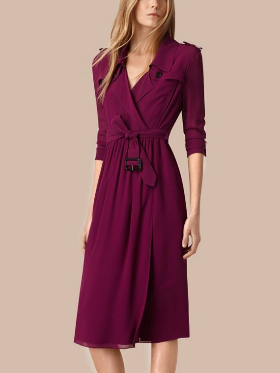 Silk Trench Dress Bright Burgundy
