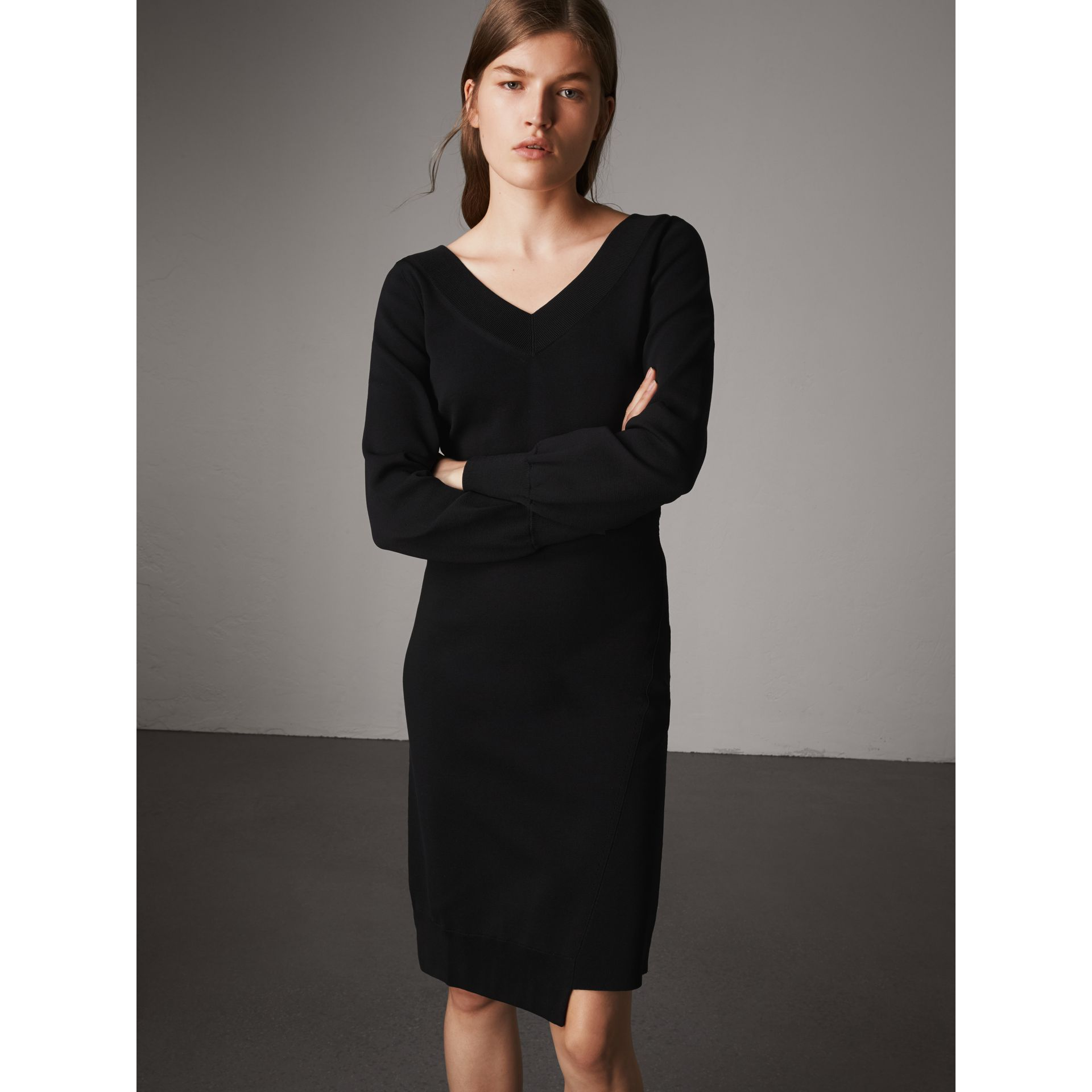 Asymmetric Knitted V-neck Dress in Black - Women | Burberry - gallery image 4