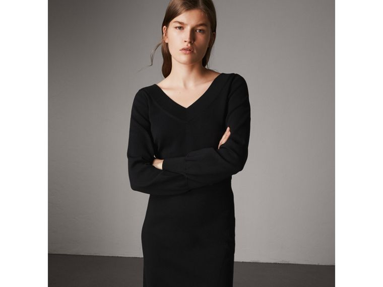 Asymmetric Knitted V-neck Dress in Black - Women | Burberry - cell image 4