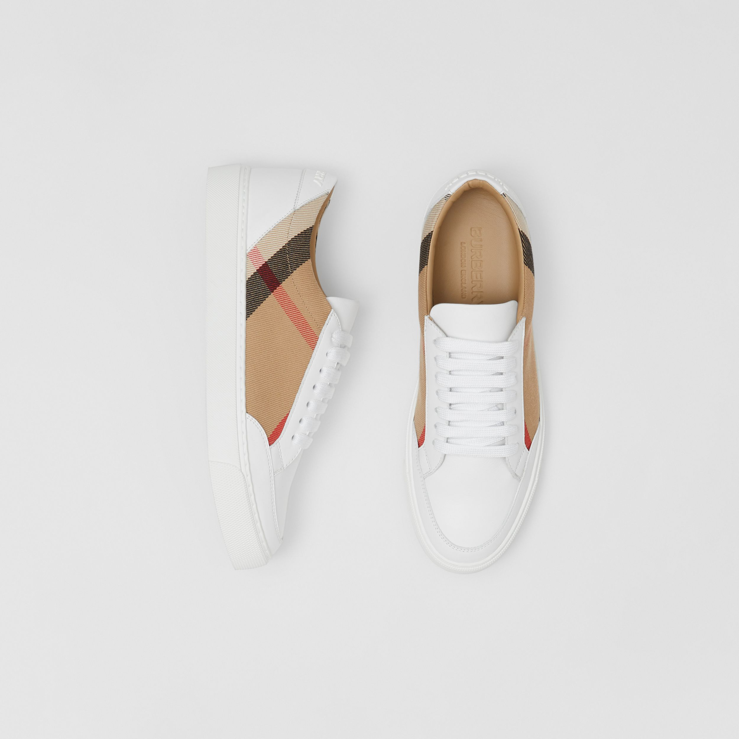 House Check and Leather Sneakers in Optic White - Women | Burberry - 1