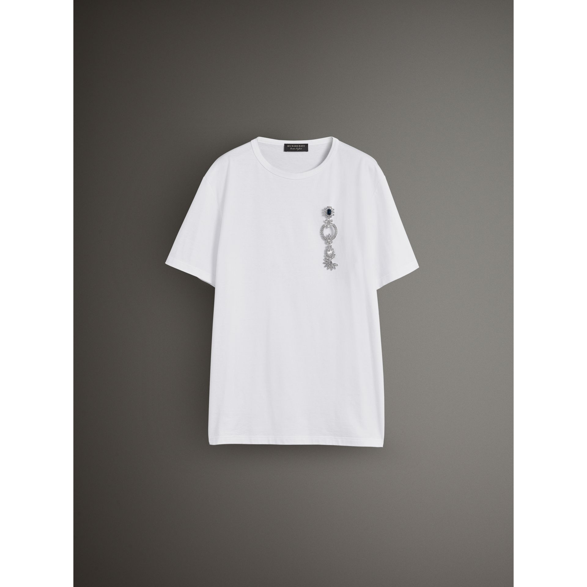 Boyfriend Fit T-shirt with Crystal Brooch in Optic White - Women | Burberry Australia - gallery image 3