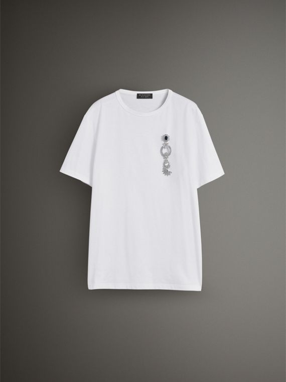 Boyfriend Fit T-shirt with Crystal Brooch in Optic White - Women | Burberry - cell image 3