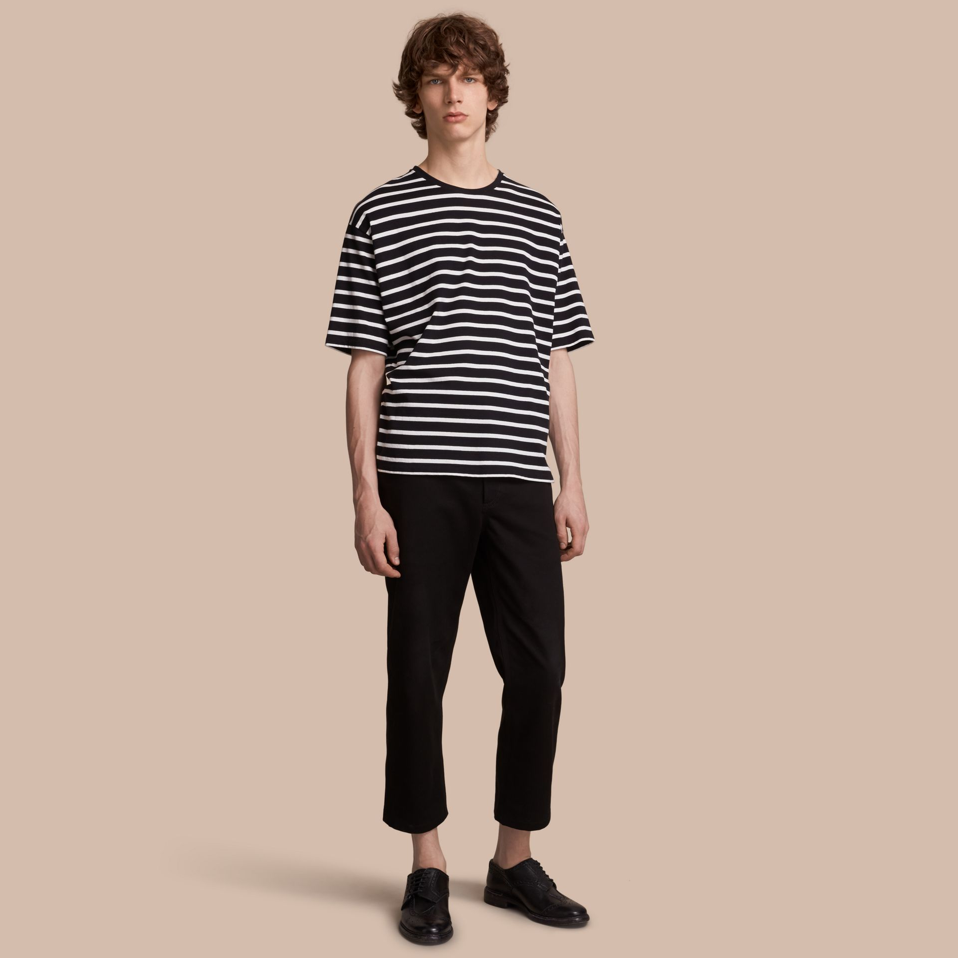 Striped Cotton Oversize T-shirt in Black/white - Men | Burberry - gallery image 1