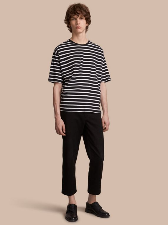 Striped Cotton Oversize T-shirt in Black/white