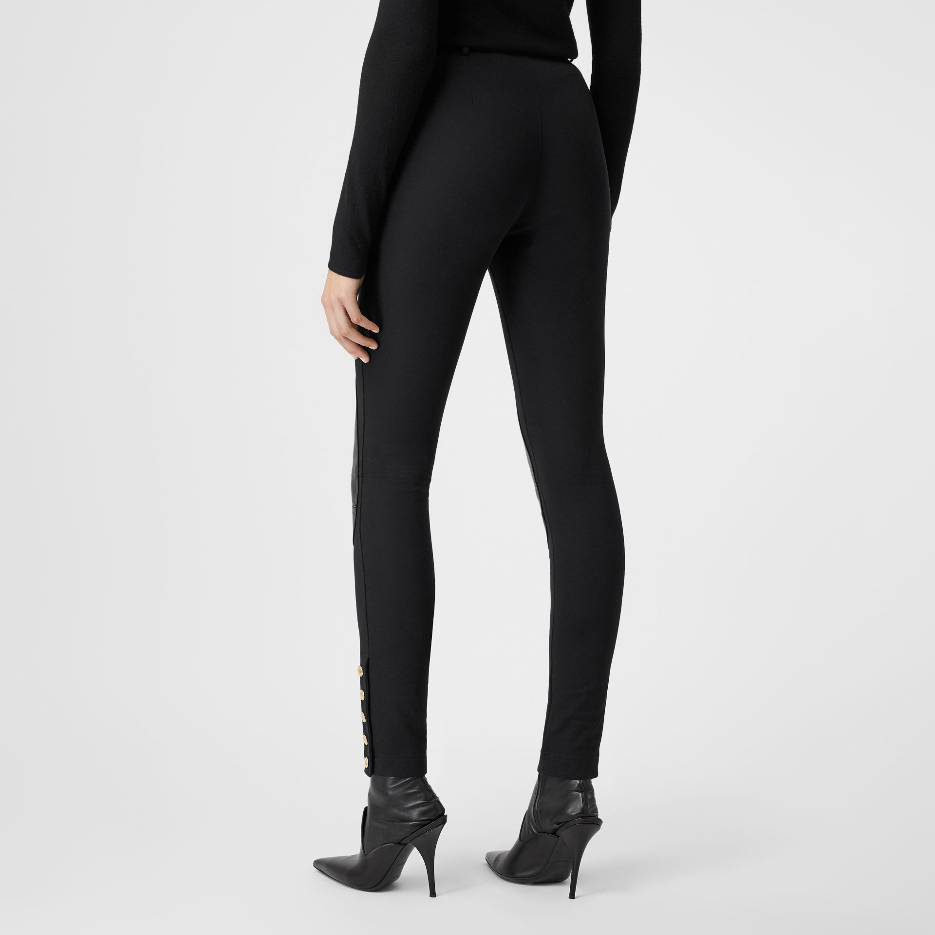 Lambskin Trim Stretch Cotton Blend Trousers in Black - Women | Burberry - gallery image 2