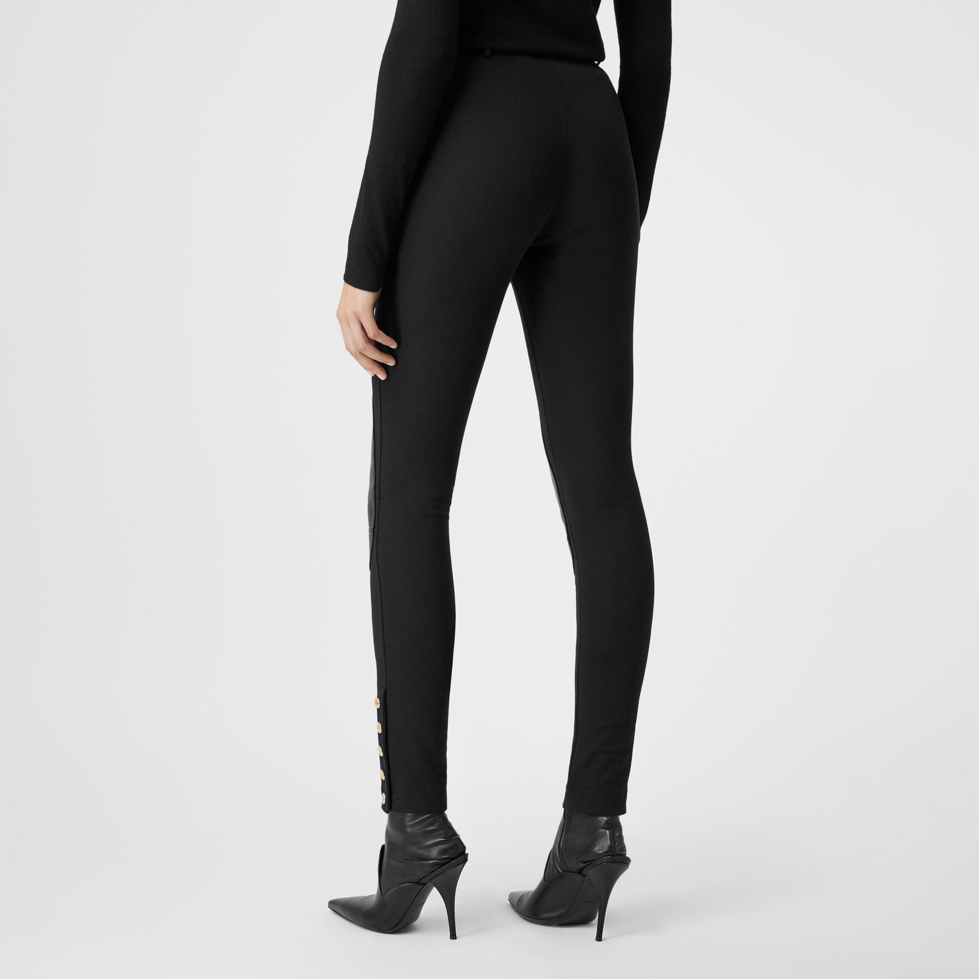 Lambskin Trim Stretch Cotton Blend Trousers in Black - Women | Burberry United Kingdom - gallery image 2