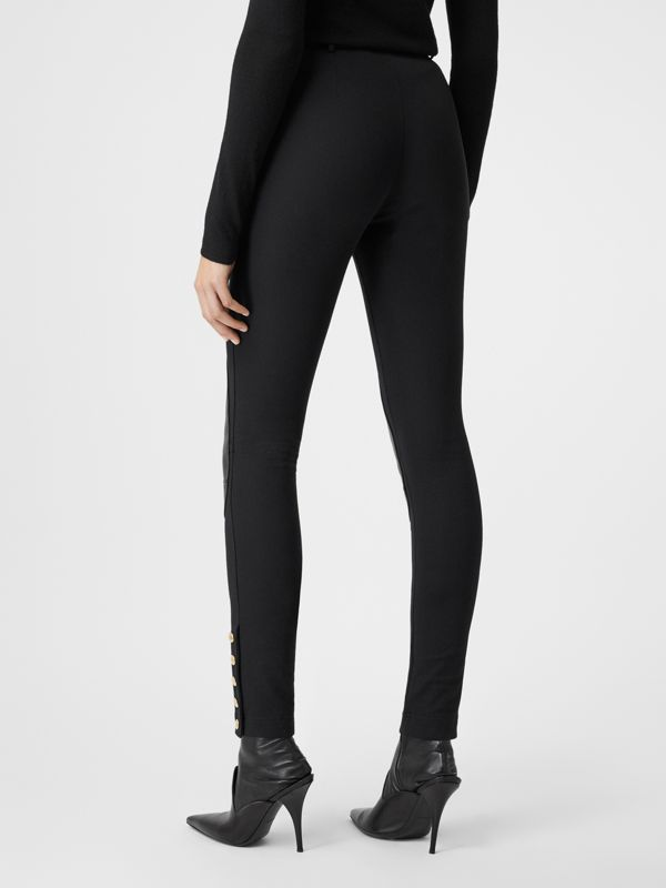 Lambskin Trim Stretch Cotton Blend Trousers in Black - Women | Burberry - cell image 2