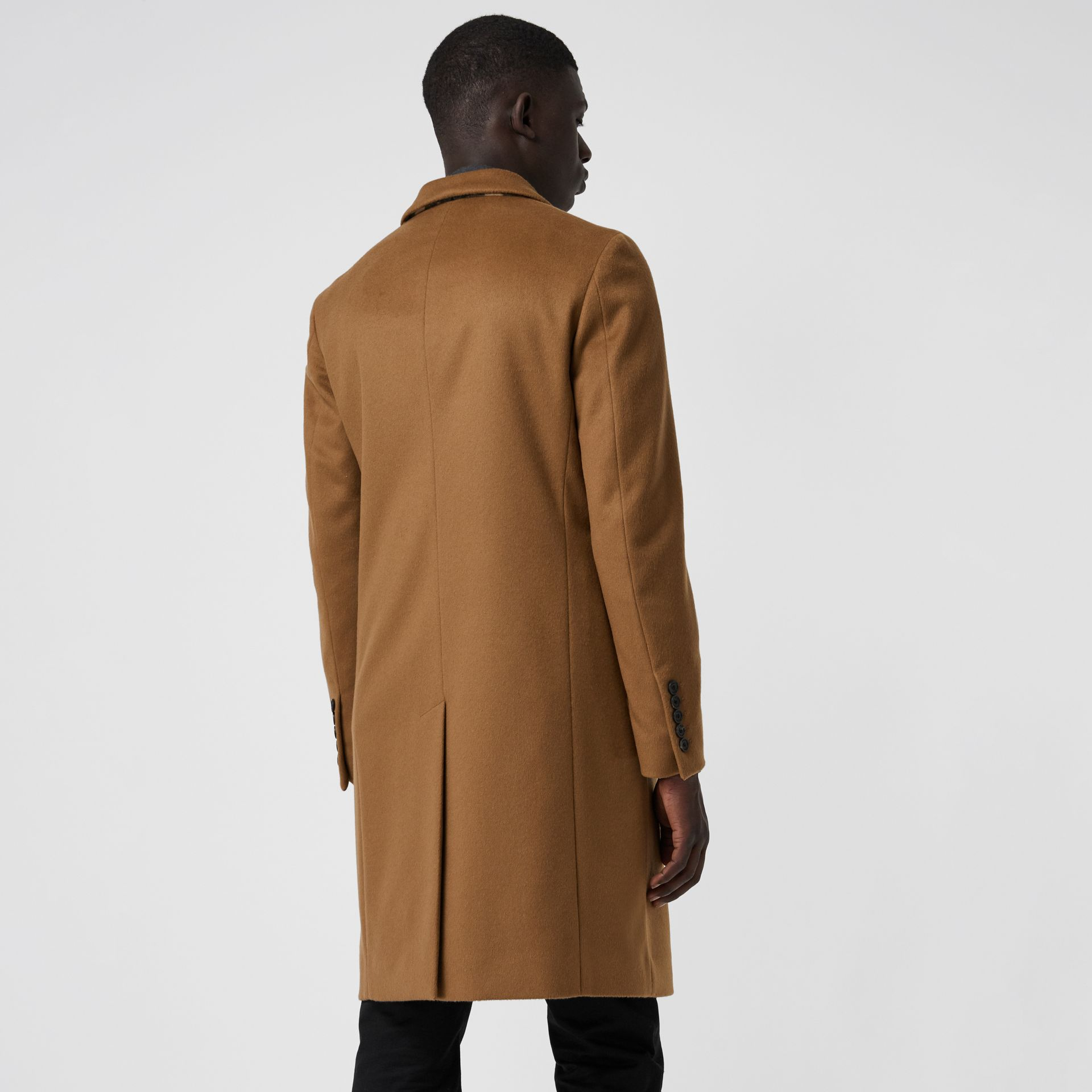 Wool Cashmere Tailored Coat in Dark Camel - Men | Burberry Australia - gallery image 2