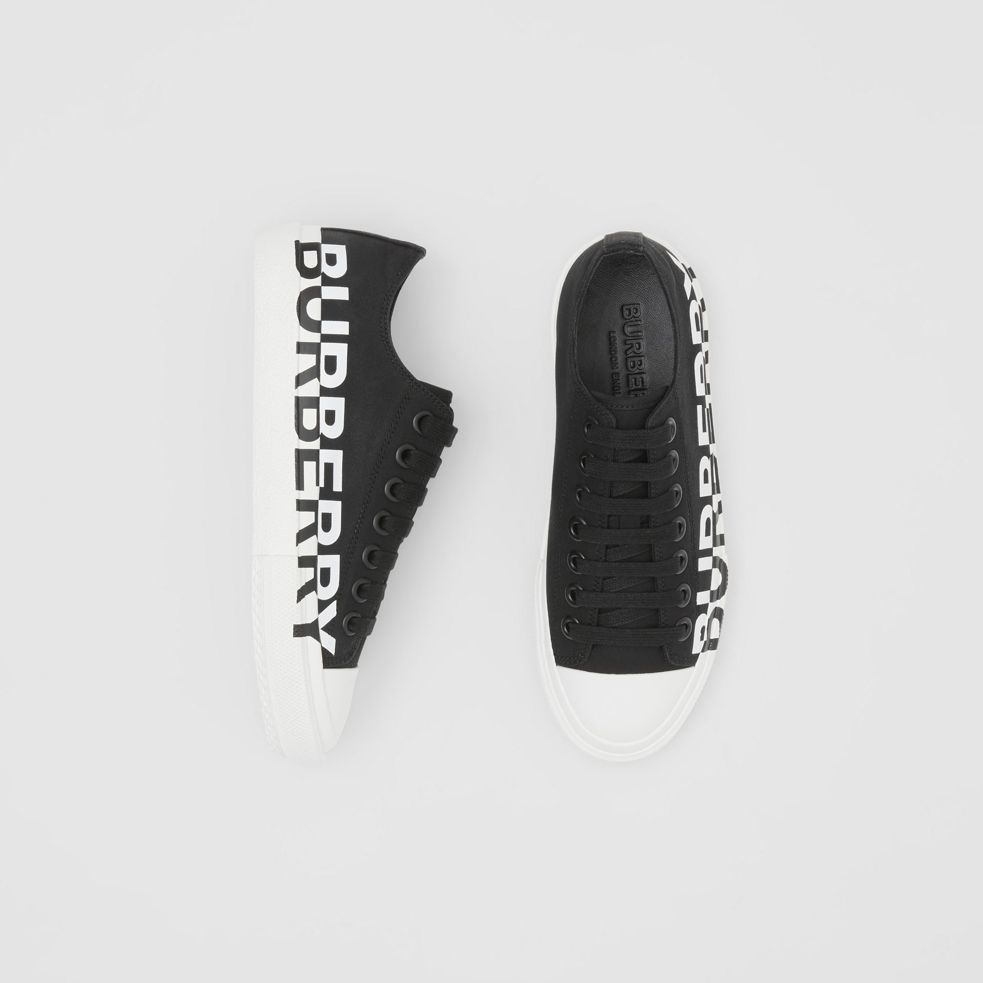 Logo Print Two-tone Cotton Gabardine Sneakers in Black/white - Women | Burberry Canada - gallery image 0