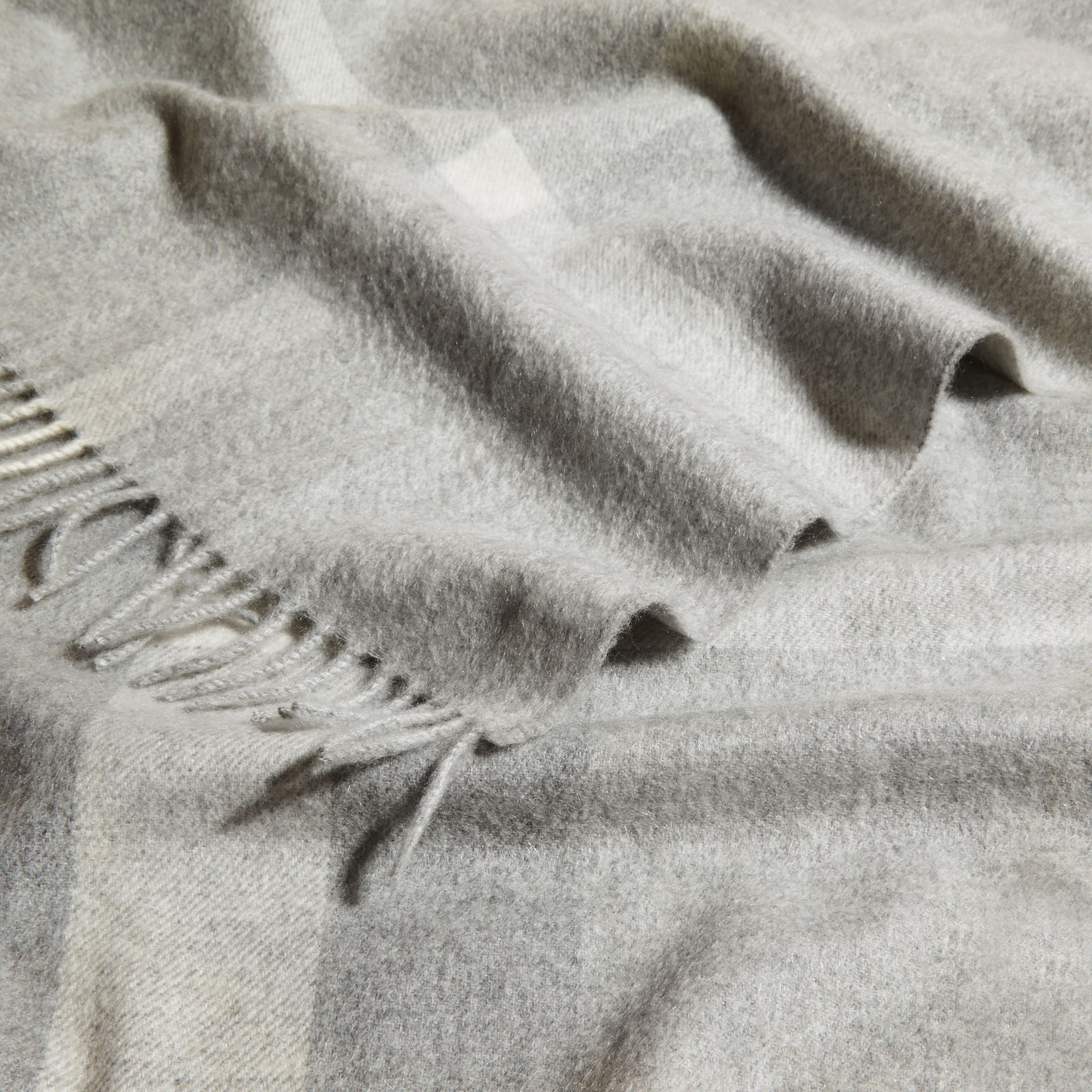 Check Cashmere Baby Blanket Light Grey Melange - gallery image 4