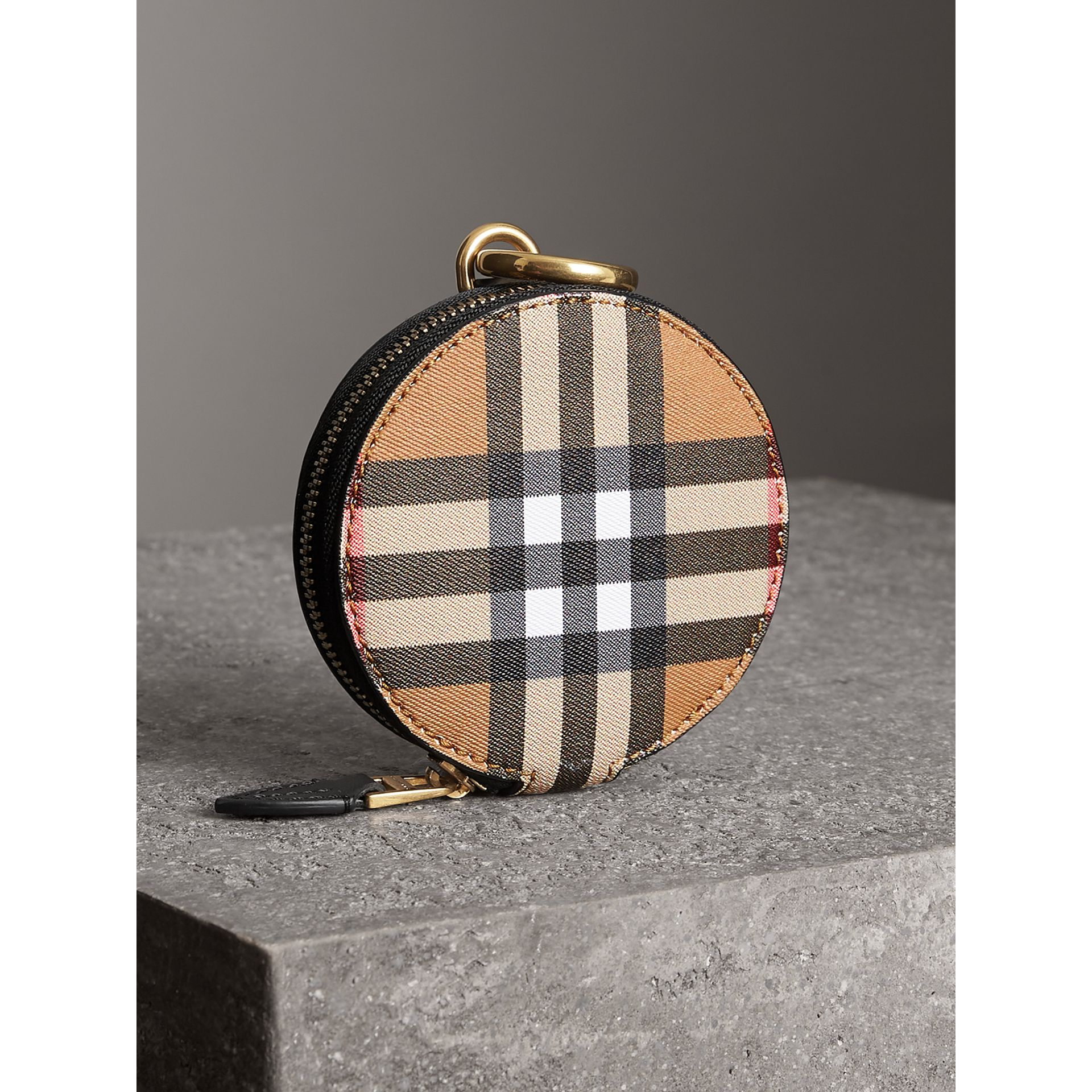 Vintage Check and Leather Coin Case in Black - Women | Burberry - gallery image 2
