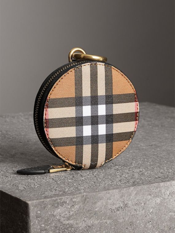 Vintage Check and Leather Coin Case in Black - Women | Burberry - cell image 2