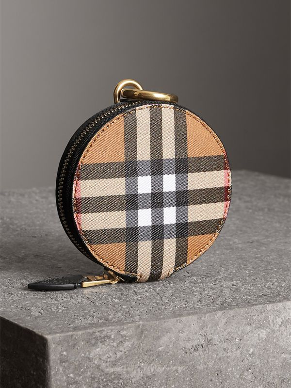 Vintage Check and Leather Coin Case in Black - Women | Burberry Singapore - cell image 2