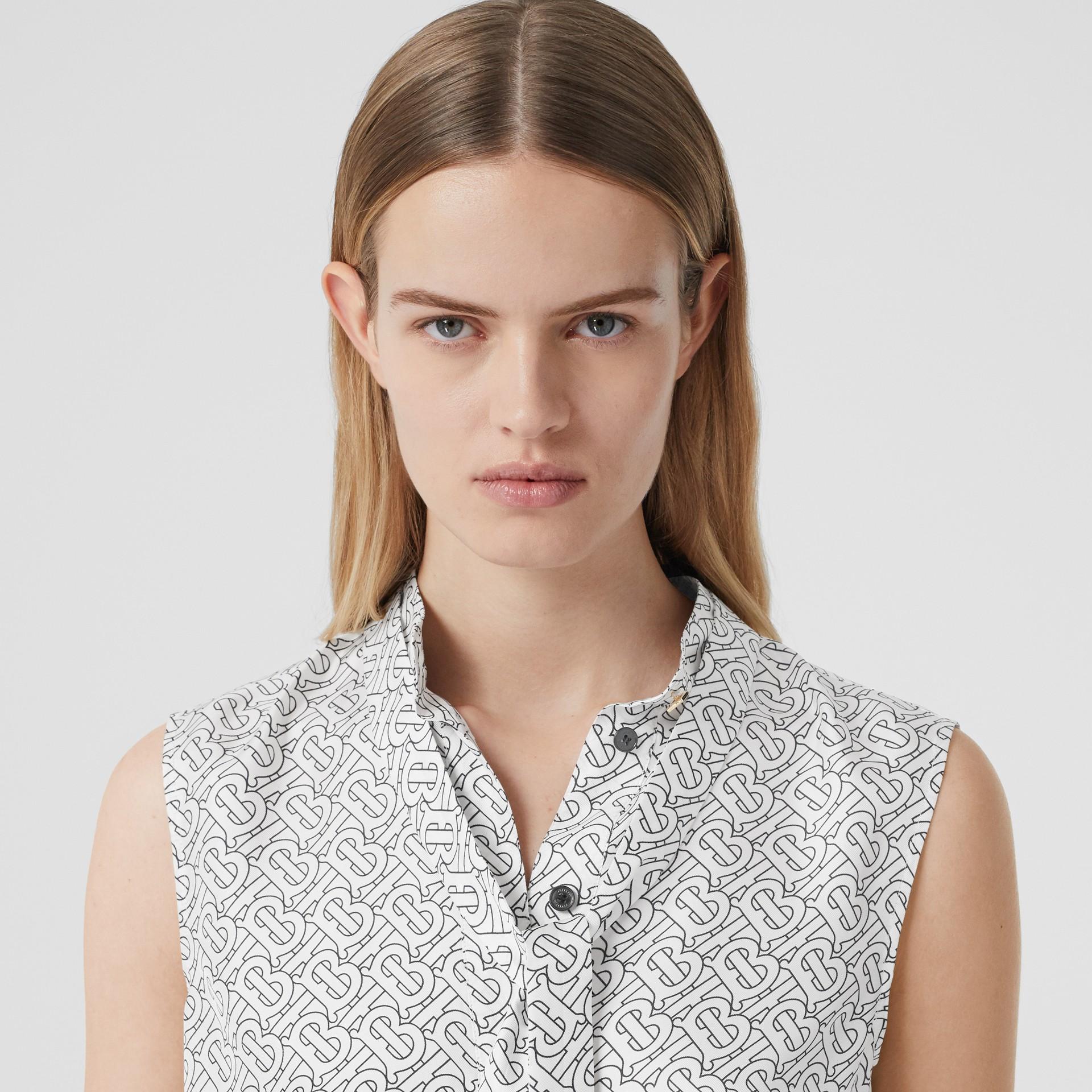 Sleeveless Monogram Print Silk Tie-neck Shirt in White - Women | Burberry - gallery image 1