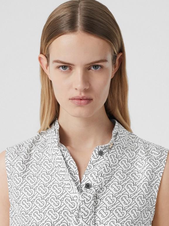 Sleeveless Monogram Print Silk Tie-neck Shirt in White - Women | Burberry - cell image 1