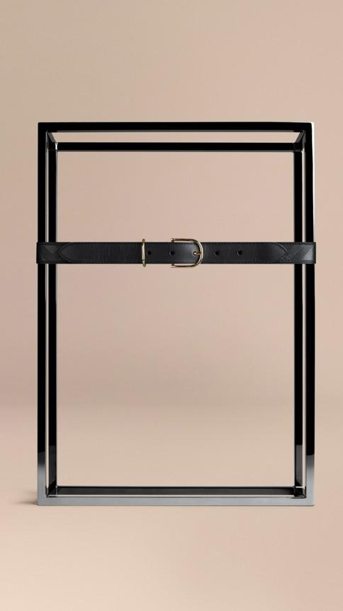 Black Embossed Check London Leather Belt Black - Image 2