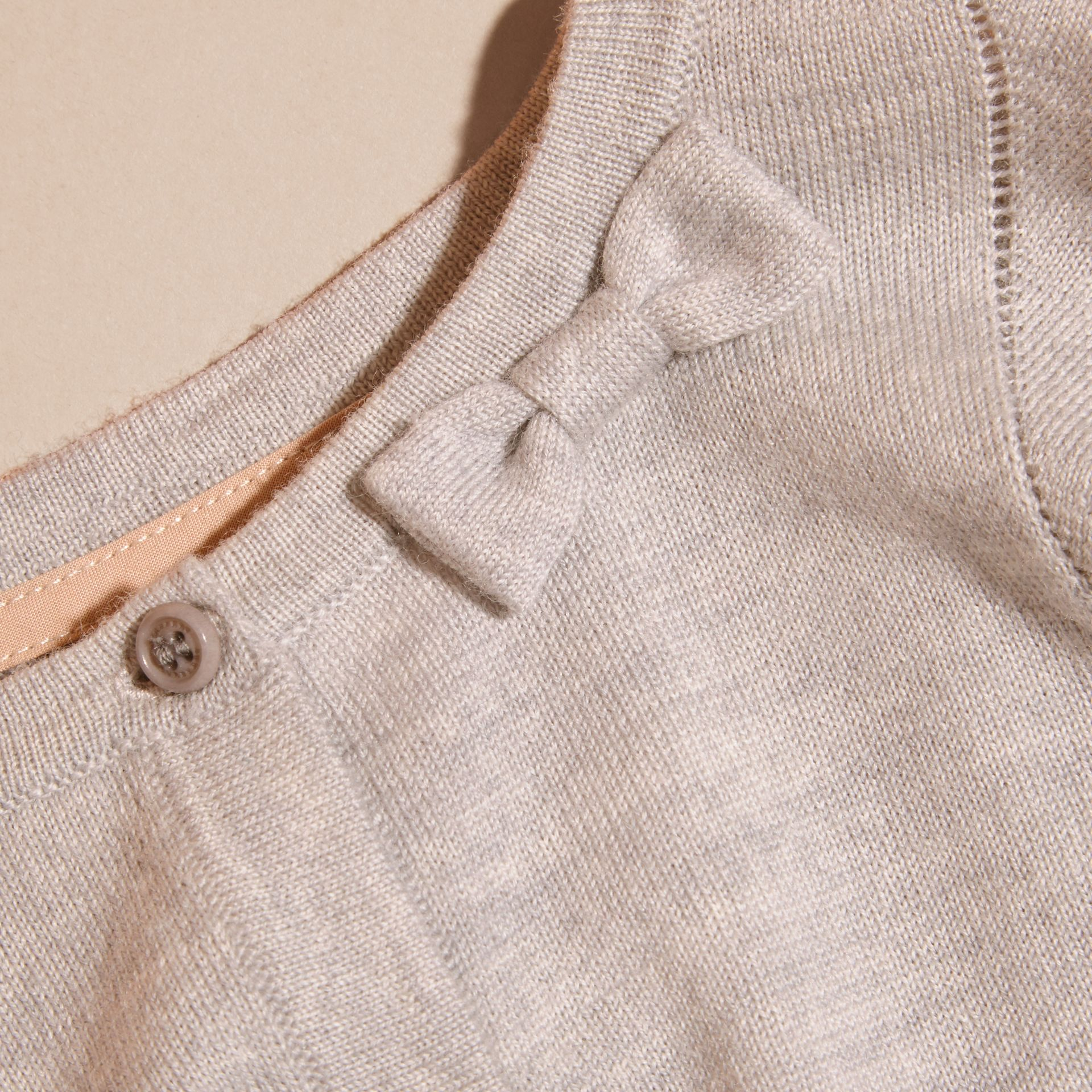 Light grey melange Lightweight Merino Wool Cardigan Grey Melange - gallery image 2
