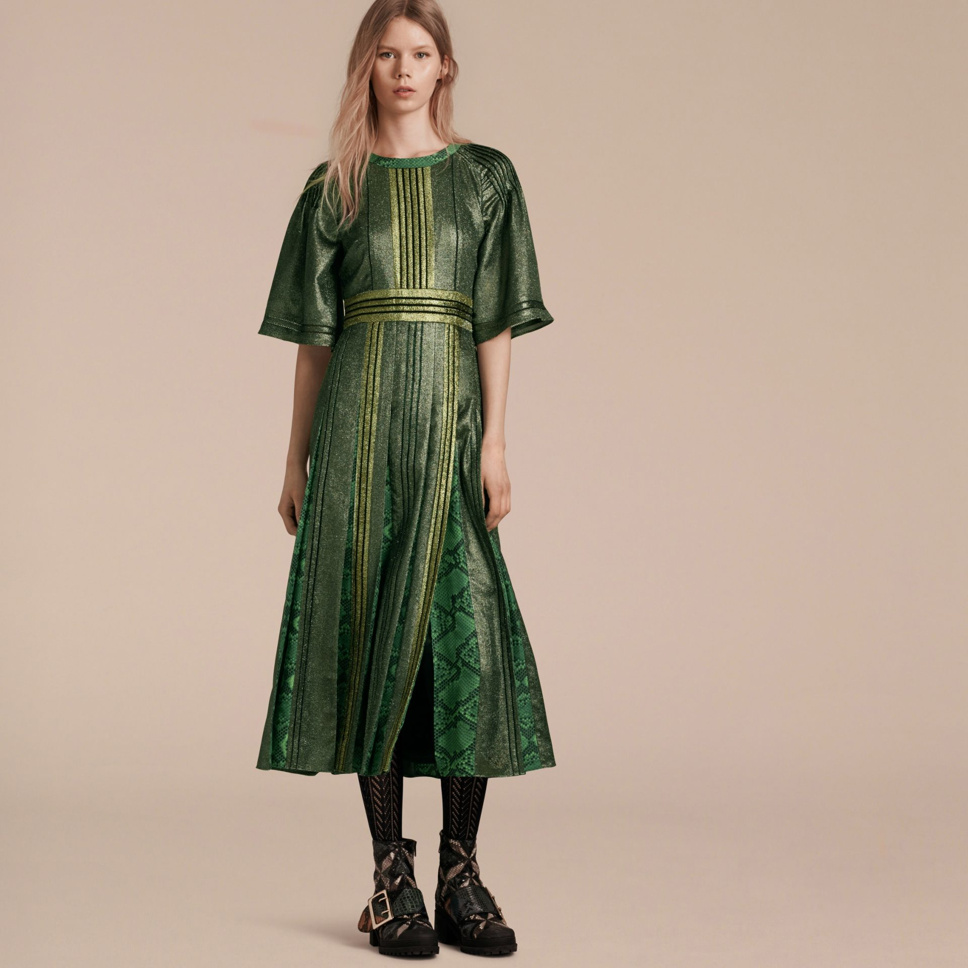 Sage Long Lamé and Python Print Dress Sage - gallery image 7