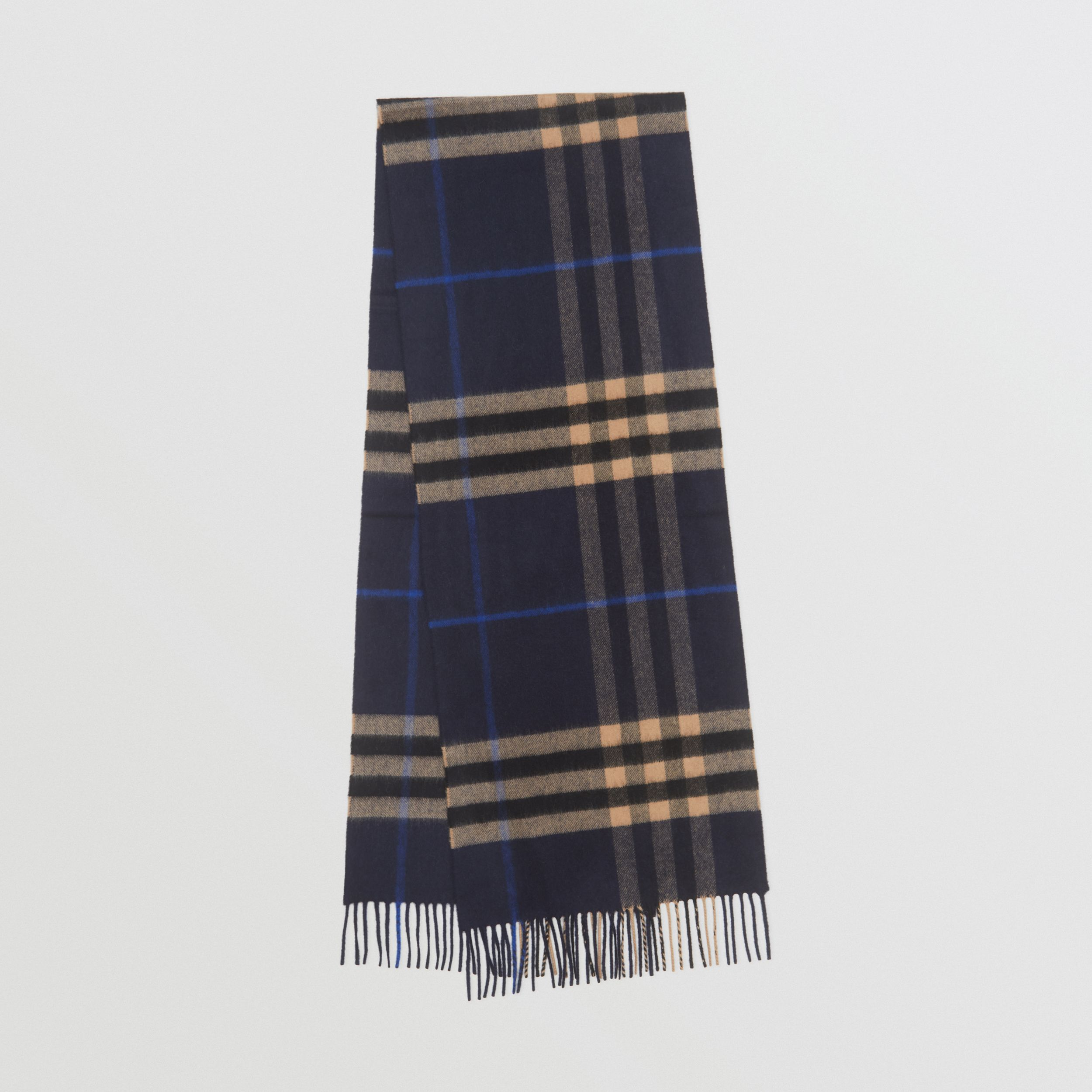 The Classic Check Cashmere Scarf in Indigo / Mid Camel | Burberry - 1