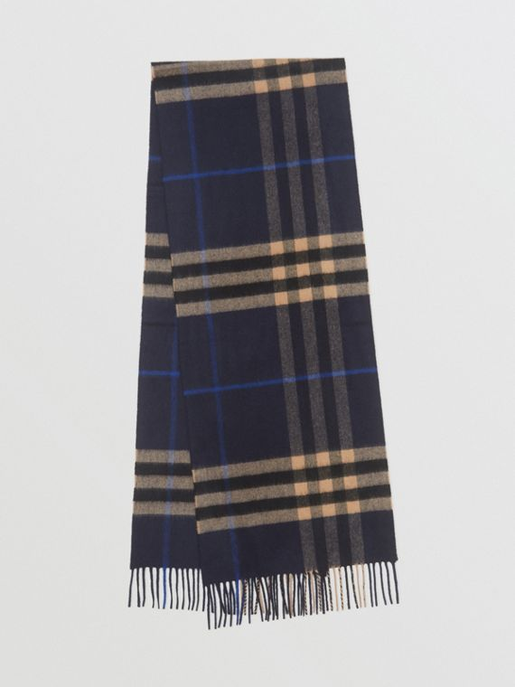The Classic Check Cashmere Scarf in Indigo/mid Camel