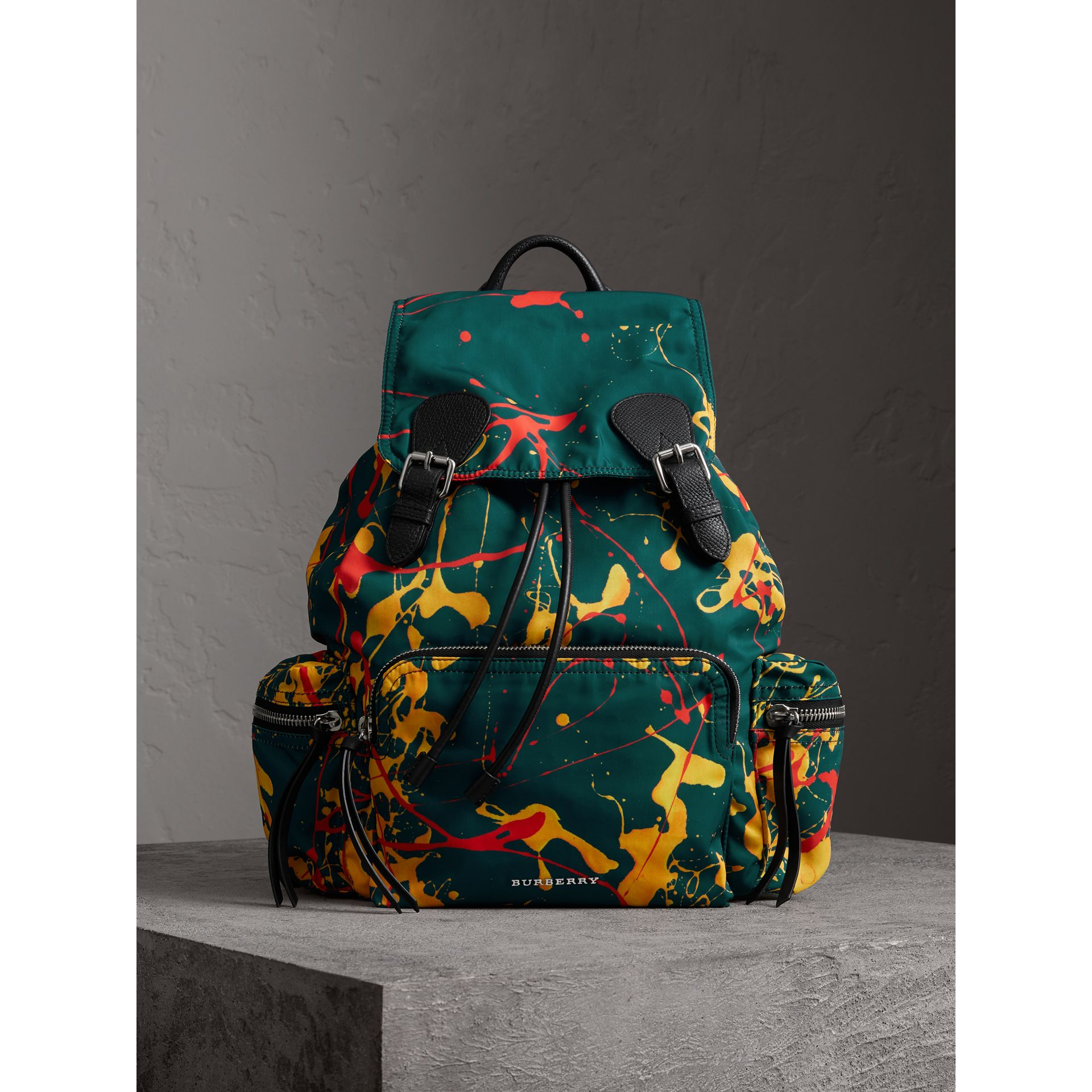 The Large Rucksack in Splash Print in Dark Teal - Men | Burberry Australia - gallery image 5
