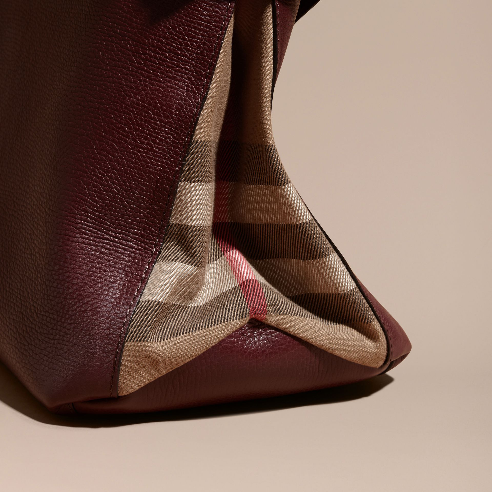 The Medium Banner in Leather and House Check in Mahogany Red - Women | Burberry - gallery image 2