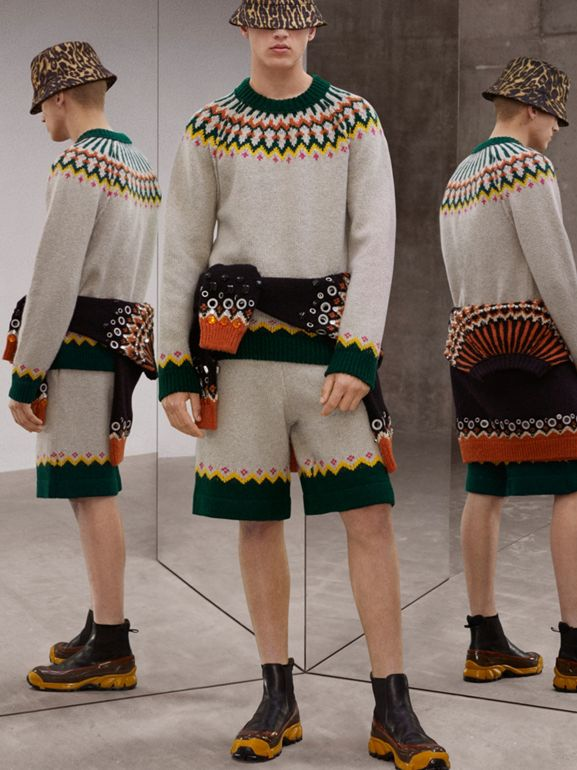 Fair Isle Wool Sweater in Sesame - Men | Burberry - cell image 1