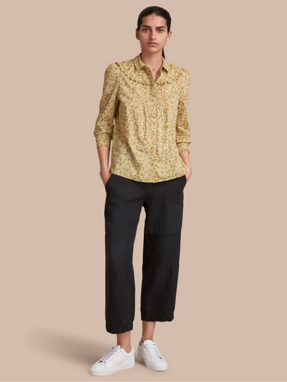 Ruffle Yoke Floral Print Cotton Shirt Chalk Yellow